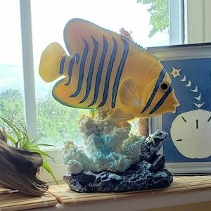 Other - 🐠 Yellow Angelfish Coral Reef Sculpture